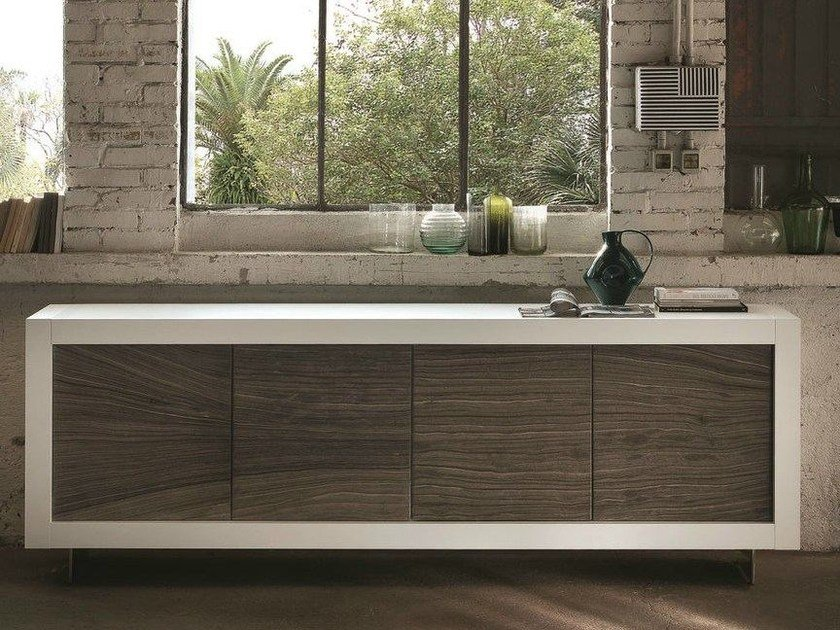 Natural stone sideboard with doors picasso p12 river grey for Arredamento taverna moderna