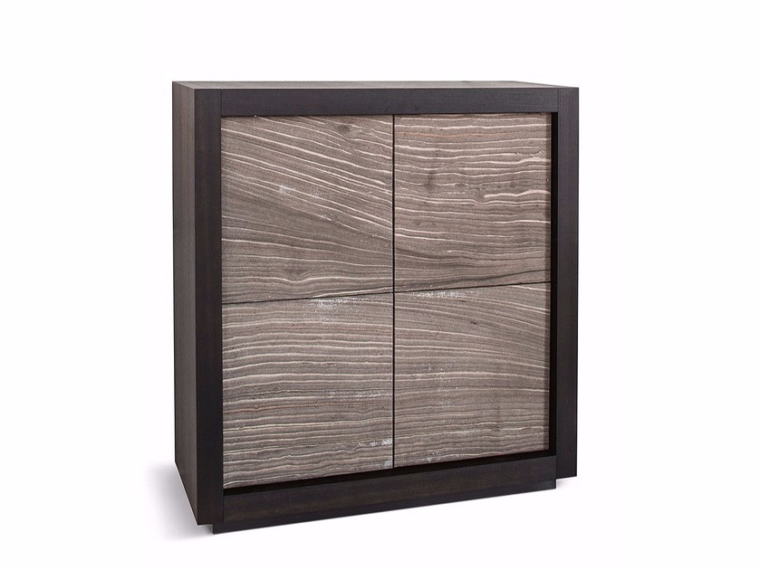 Natural stone highboard with doors PICASSO P2 RIVER GREY by RIFLESSI