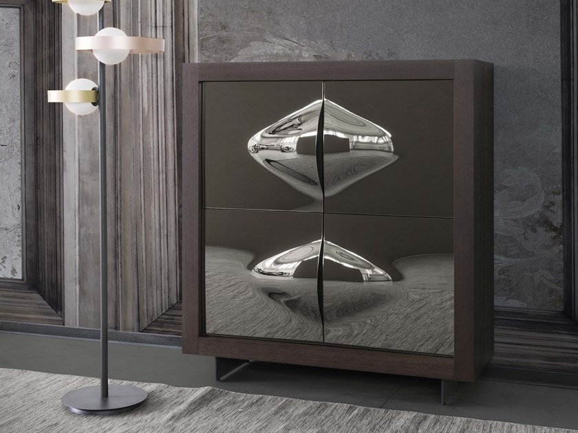 Honeycomb highboard with doors PICASSO P2 VENERE by RIFLESSI
