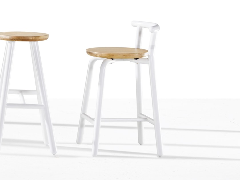 Wooden counter stool PICKET | Wooden chair by Derlot Editions