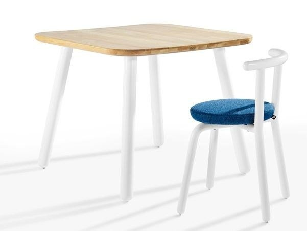 Square wooden table PICKET | Square table by Derlot Editions