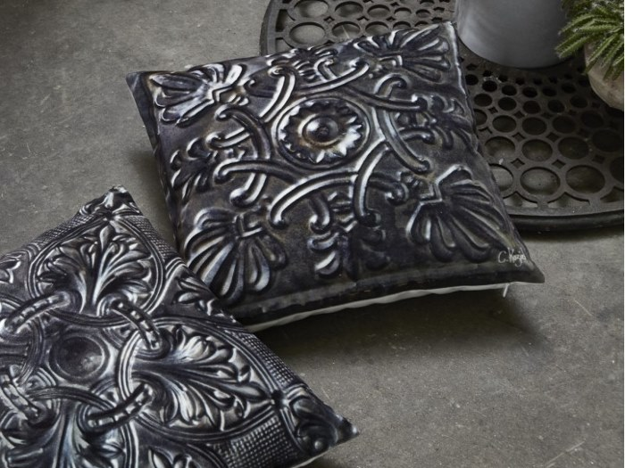 Square polyester cushion PICKLED TIN TILE by Koziel