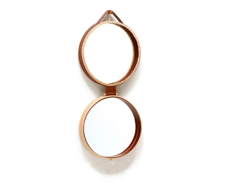 Specchio doppio rotondo da parete / contenitore in midollino PICNIC by Bottega Intreccio