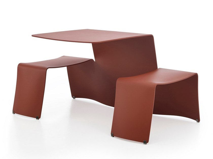 Aluminium picnic table with integrated benches PICNIK by Extremis