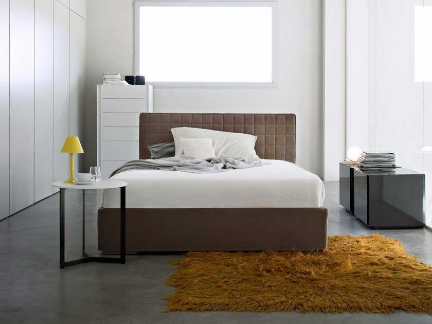 Fabric bed with removable cover with upholstered headboard PICOLIT by Lema