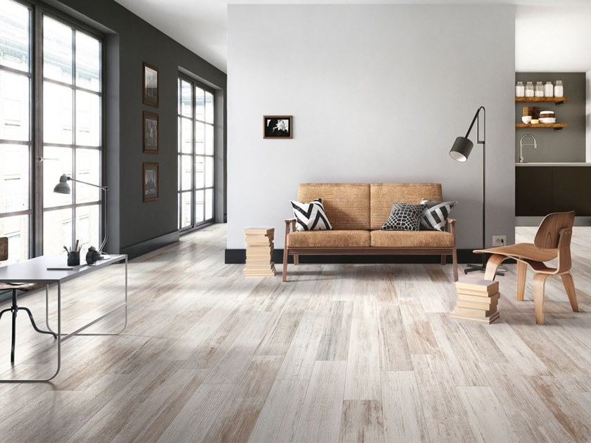 Porcelain stoneware wall/floor tiles with wood effect PICTART WHITE by CERAMICA SANT'AGOSTINO