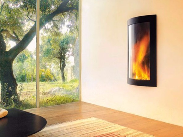 Gas wall-mounted fireplace with panoramic glass PICTOFOCUS 860 by Focus creation