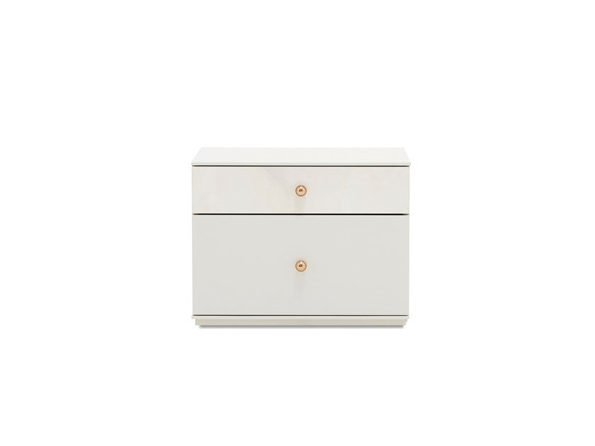 Rectangular wooden bedside table with drawers PIEDRA | Bedside table by Enza Home