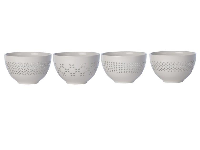 Porcelain serving bowls set PIERCED | Serving bowls set by Pols Potten