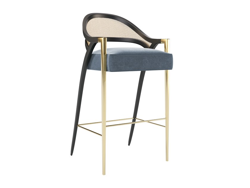 Upholstered barstool with footrest PIERRE | Barstool by Jetclass