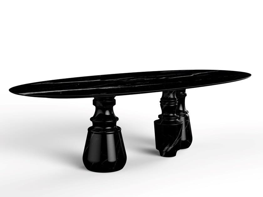 Tavolo da pranzo ovale in marmo Nero Marquina PIETRA OVAL XL   Tavolo in marmo Nero Marquina by Boca do Lobo