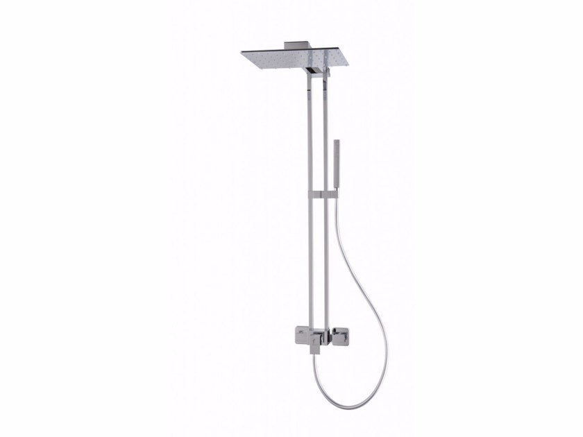 Wall-mounted brass shower panel PIGRECO by tender rain