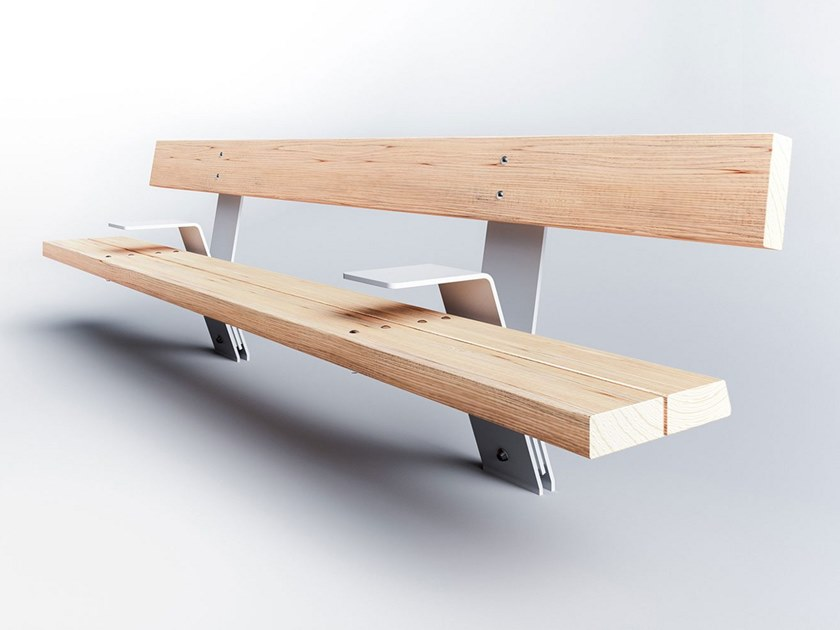 Steel and wood Bench with back PIK SEAT by Factory Furniture