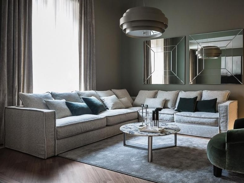 Corner sectional sofa with removable cover PILLOPIPE | Corner sofa by Casamilano