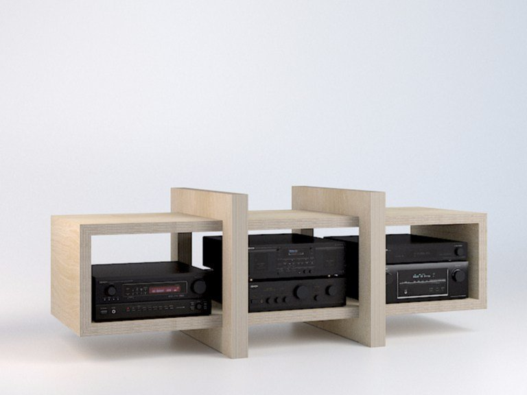 Modular multi-layer wood TV cabinet LOW by MALHERBE EDITION