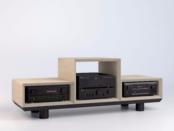 Modular multi-layer wood TV cabinet PIMA by MALHERBE EDITION