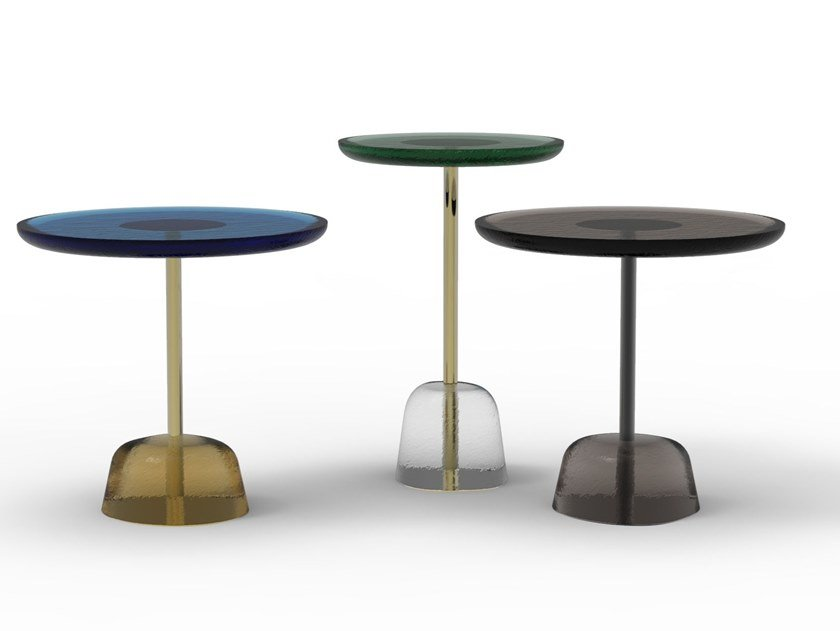 Round glass coffee table PINA by pulpo