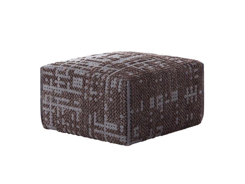 Upholstered wool pouf CANEVAS | Pouf square by GAN