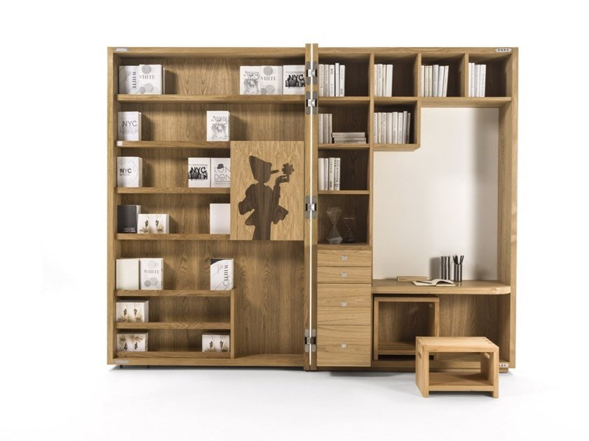 "Open solid wood bookcase with secretary desk PINOCCHIO ""MY BOOK"" by Riva 1920"