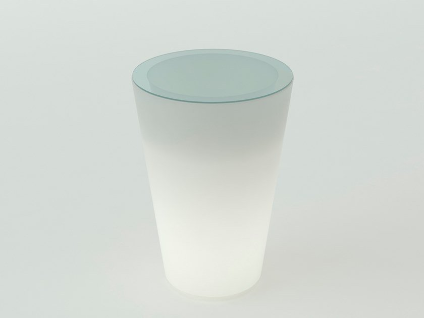 Round polyethylene high table with light PINT by SLIDE