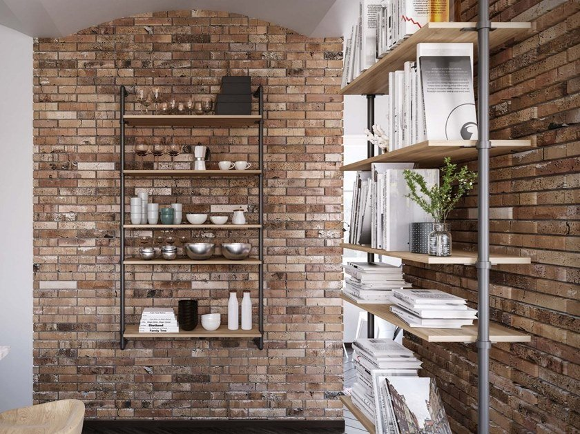 Wall-mounted bookcase PIPE by Damiano Latini