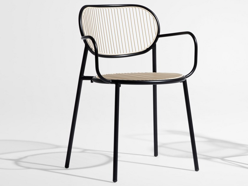 Stainless steel chair with armrests PIPER | Chair with armrests by DesignByThem