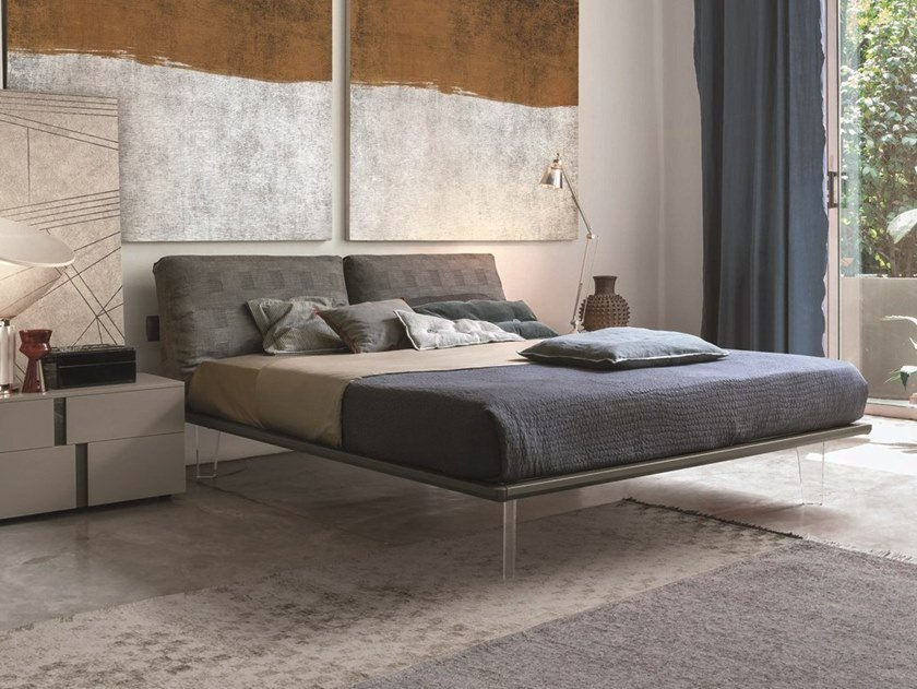 Double bed with upholstered headboard PIUMA by Gruppo Tomasella