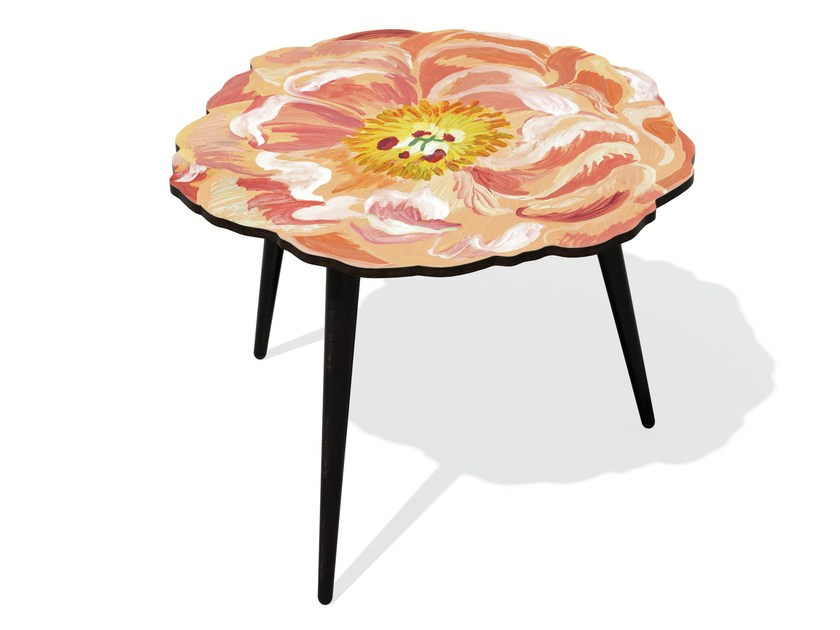 Beech wood and HPL side table PIVOINE L by Bazartherapy
