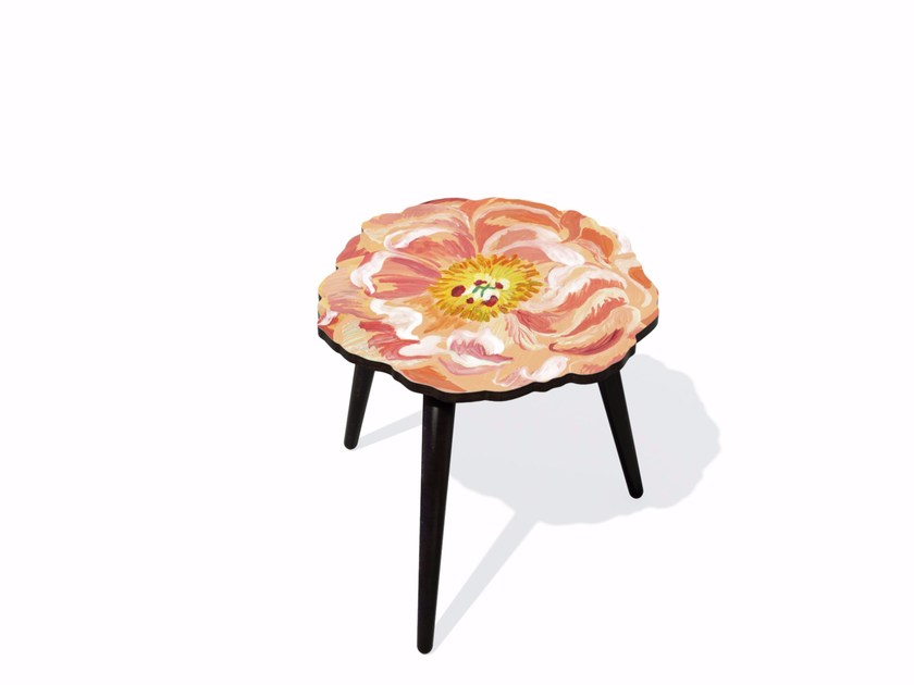 Beech wood and HPL side table PIVOINE S by Bazartherapy