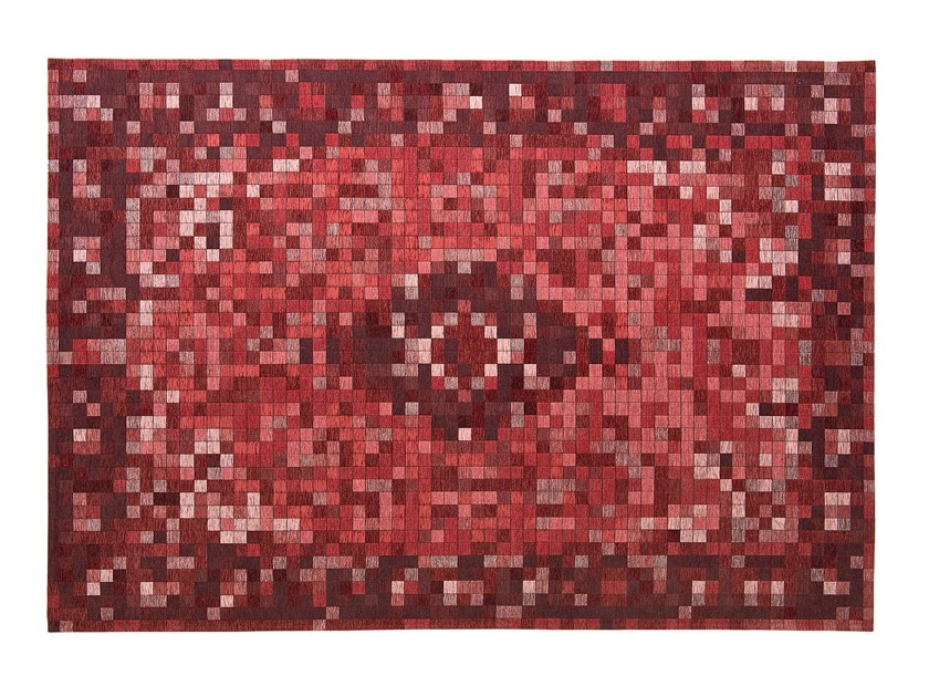 Patterned rectangular fabric rug PIXI by Calligaris