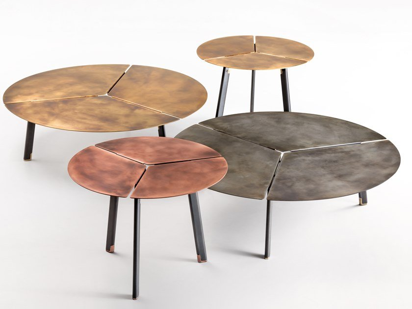 Tavolino rotondo in metallo PLACAS by DE CASTELLI