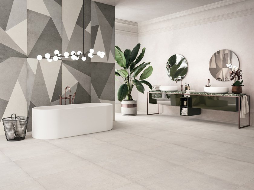 Porcelain stoneware wall/floor tiles with concrete effect PLAIN by Ceramiche Refin
