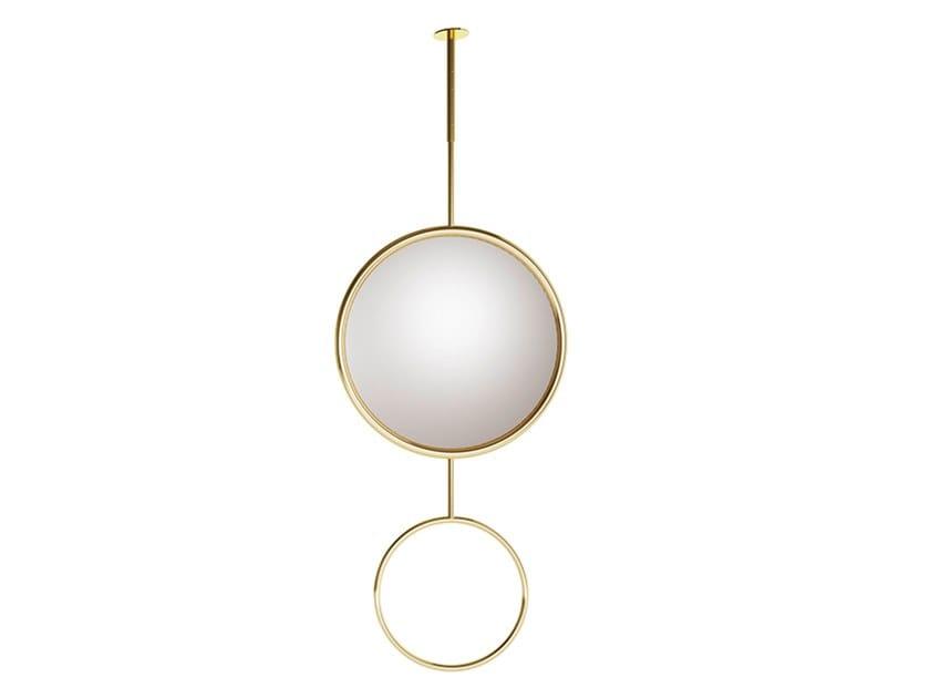 Espelho suspenso redondo de metal PLANET 0 by EXENZA