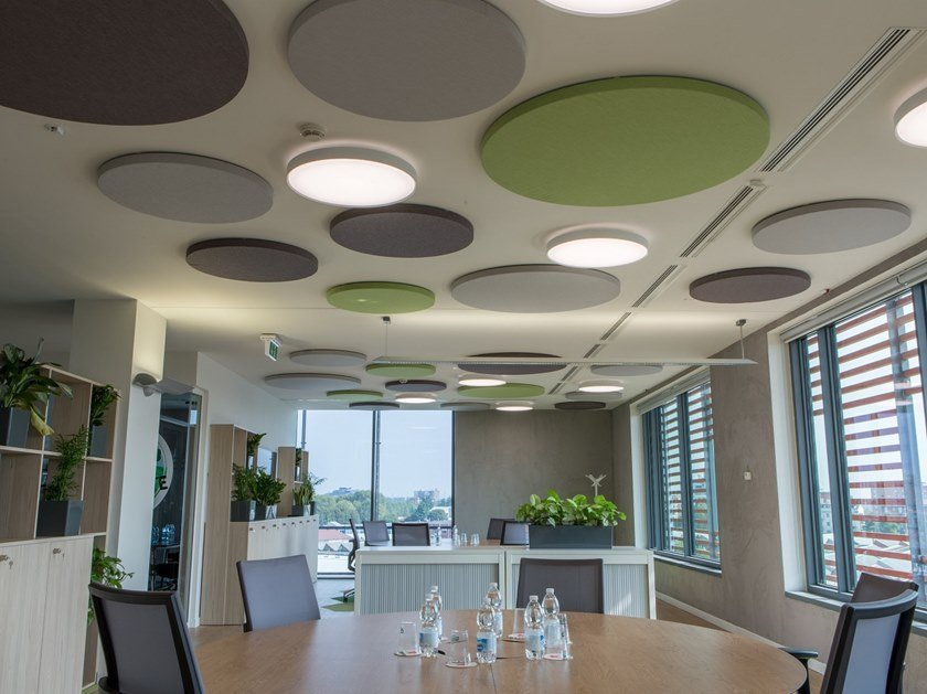 Soundabsorbing panel in fonostrasparent fabrics PLANET by ITP