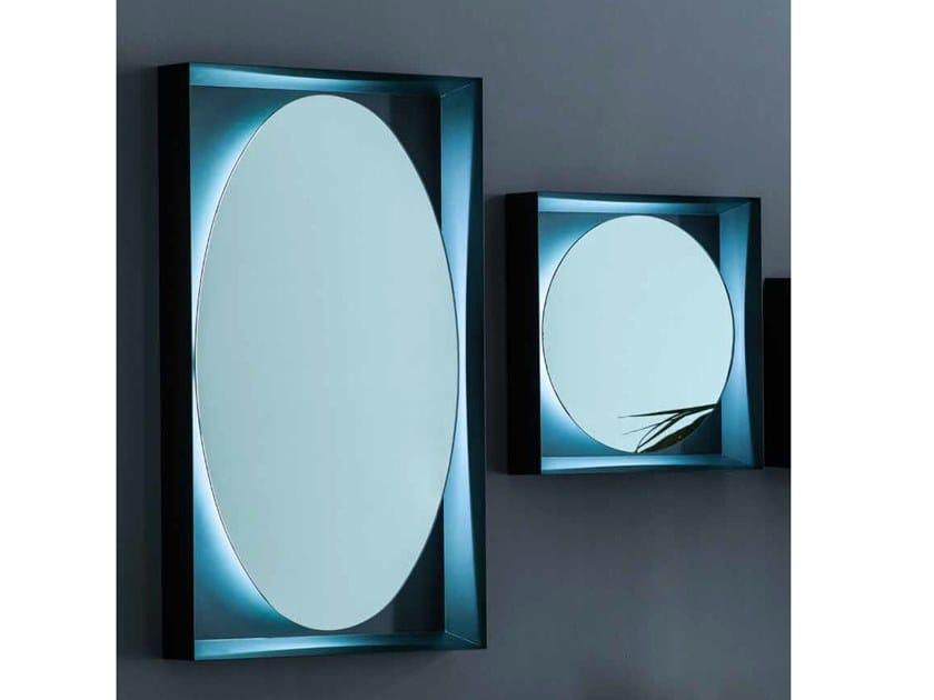 Wall-mounted metal mirror with integrated lighting PLANETA | Wall-mounted mirror by Adriani e Rossi edizioni