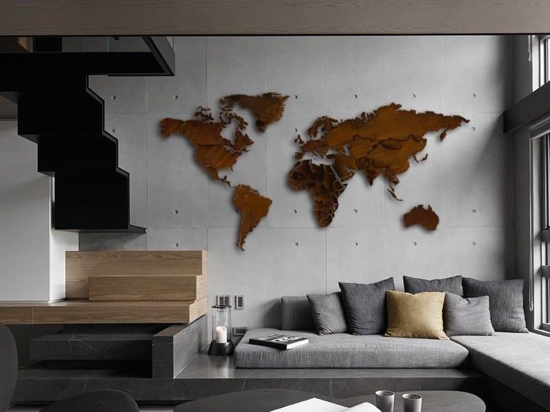 Corten™ wall decor item PLANISFERO CORTEN® by Carluccio Design