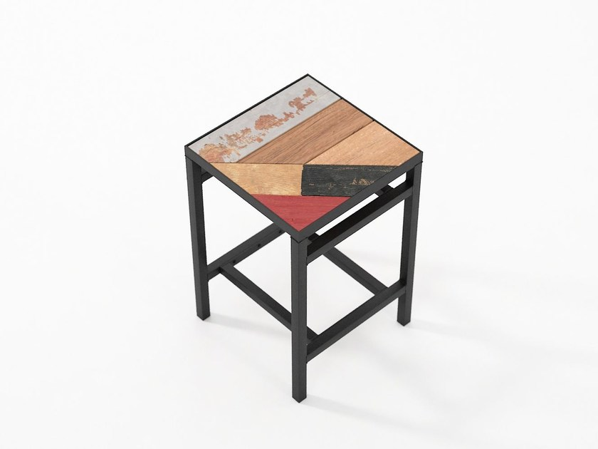 Stool with footrest PLANKE | Stool by KARPENTER
