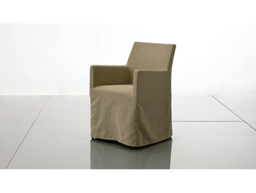 Upholstered fabric chair with armrests PLANO   Fabric chair by Marac