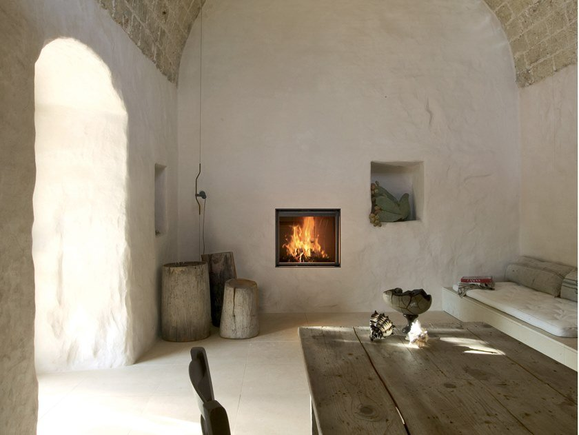 Caminetto a legna incassato con vetro panoramico PLASMA 75 WOOD by MCZ