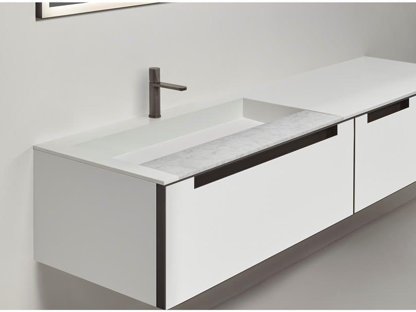 Lavabo rettangolare in Corian® PLATÒ by Antonio Lupi Design