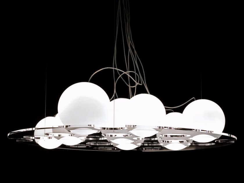 Blown glass pendant lamp PLATEAU - 476/486 by Oluce