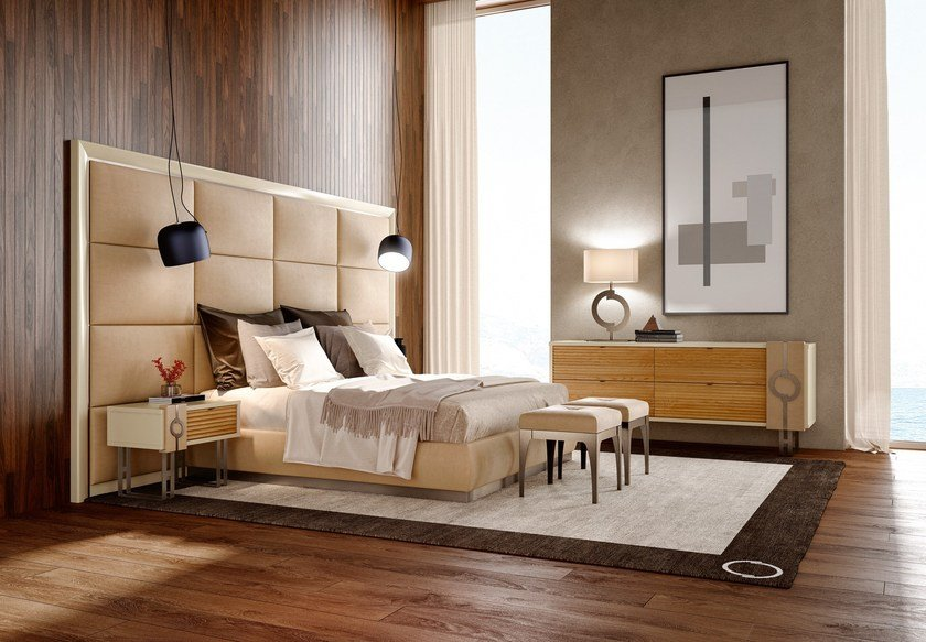 Contemporary style upholstered wooden king size bed PLATEAU | Upholstered bed by Caroti