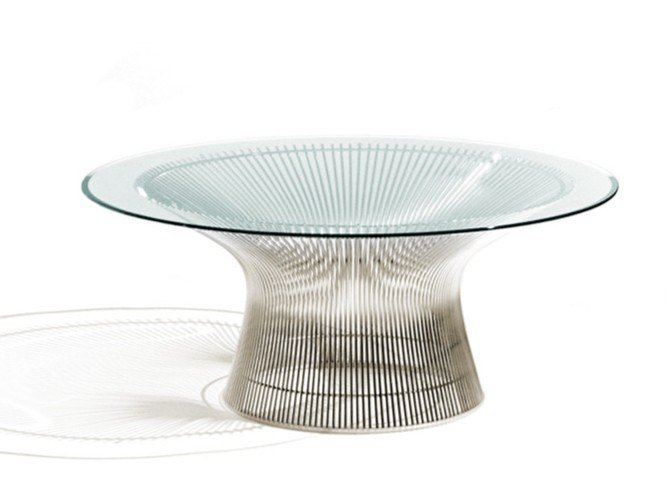 Tavolino rotondo in acciaio e cristallo PLATNER | Tavolino in acciaio e cristallo by KNOLL