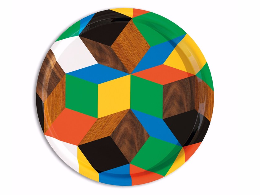 Round multi-layer wood tray PENROSE ROND PLAY WOOD by Bazartherapy