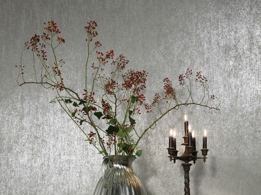 Washable nonwoven wallpaper PALAZZO BURNISHED METAL by Omexco