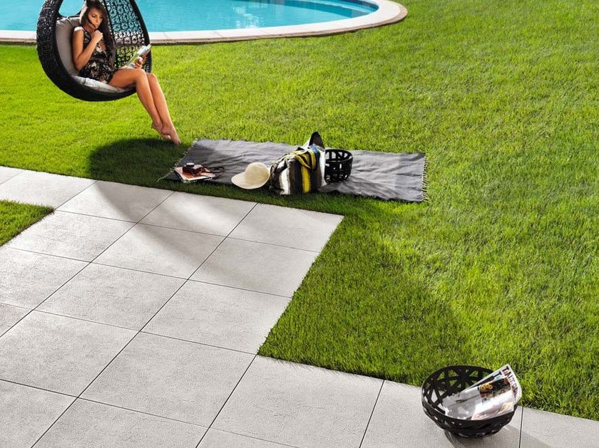 Laminated stoneware outdoor floor tiles with stone effect PLEIN AIR by COTTO D'ESTE