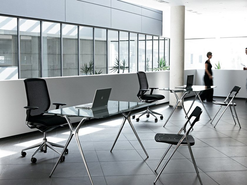 Folding glass and aluminium table PLEK   Folding table by ACTIU