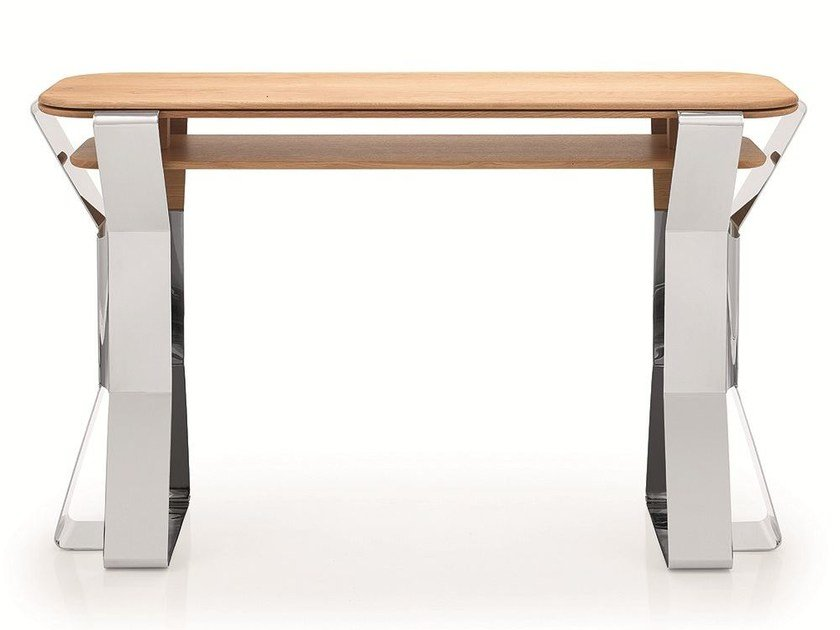 Stainless steel and wood console table PLI | Console table by Riluc