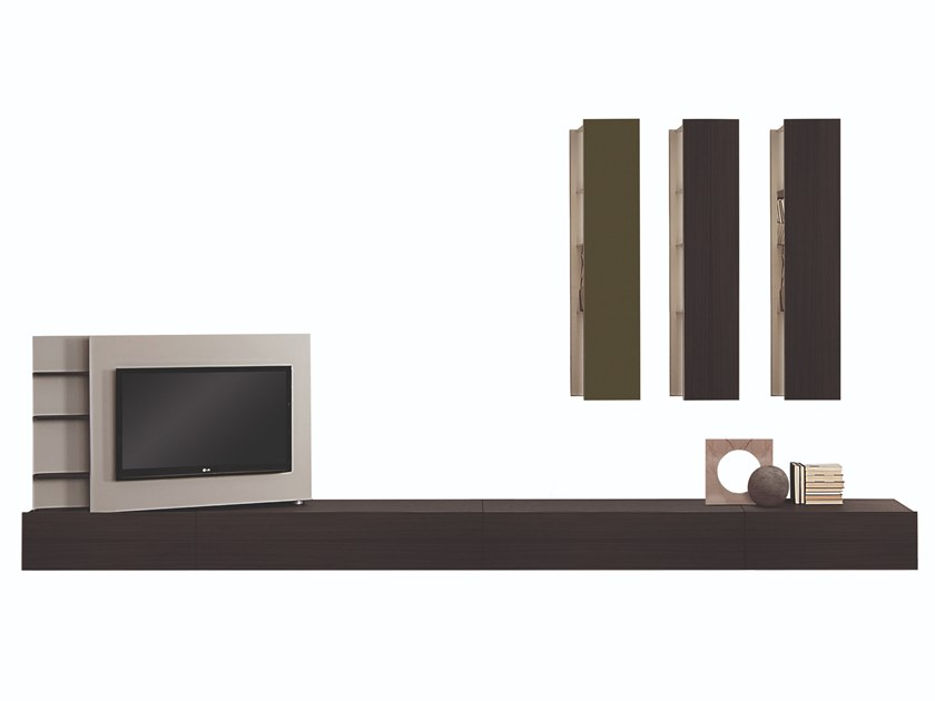 Sectional wooden TV wall system PLINTO 1.6 by FORMER