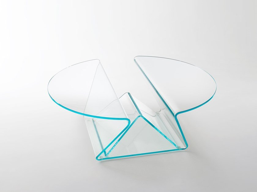 Low round crystal coffee table PLISSE' by Glas Italia